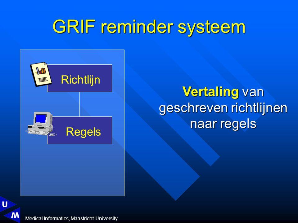 Medical Informatics, Maastricht University GRIF reminder systeem Vertaling van geschreven richtlijnen naar regels Richtlijn Regels