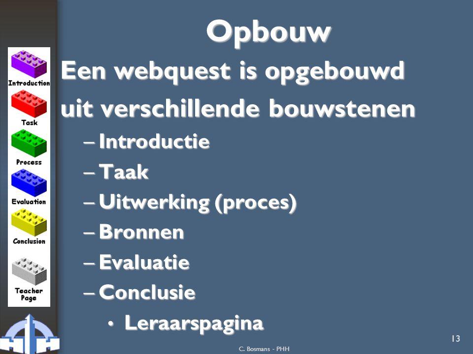 C. Bosmans - PHH 13Opbouw Een webquest is opgebouwd uit verschillende bouwstenen –Introductie –Taak –Uitwerking (proces) –Bronnen –Evaluatie –Conclusi