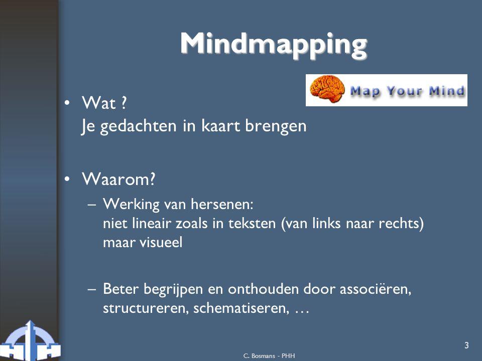 C. Bosmans - PHH 3 Mindmapping Wat ? Je gedachten in kaart brengen Waarom? –Werking van hersenen: niet lineair zoals in teksten (van links naar rechts