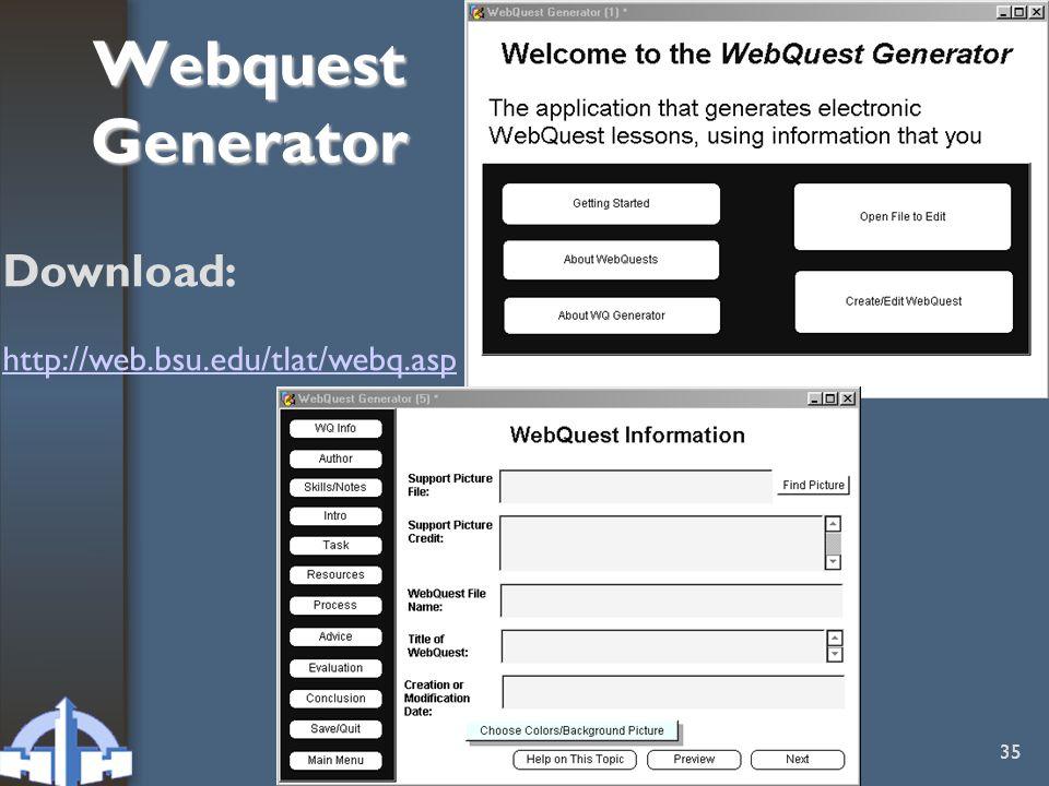 C. Bosmans - PHH 35 Webquest Generator Download: http://web.bsu.edu/tlat/webq.asp