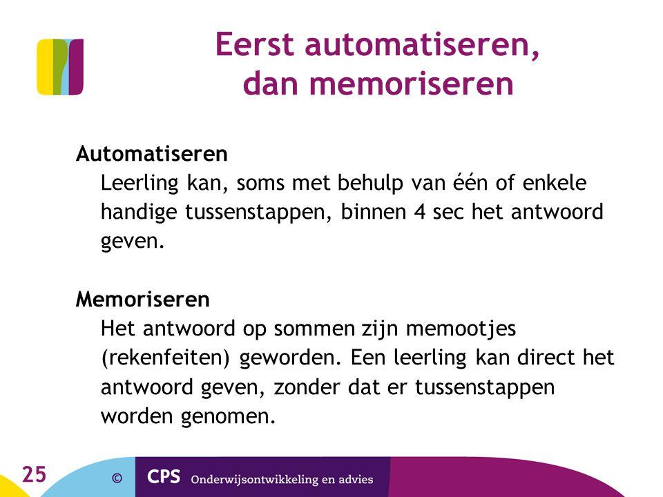 25 Eerst automatiseren, dan memoriseren Automatiseren Leerling kan, soms met behulp van één of enkele handige tussenstappen, binnen 4 sec het antwoord geven.