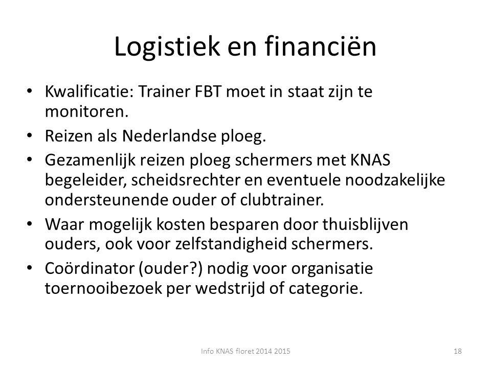 Logistiek en financiën Kwalificatie: Trainer FBT moet in staat zijn te monitoren. Reizen als Nederlandse ploeg. Gezamenlijk reizen ploeg schermers met