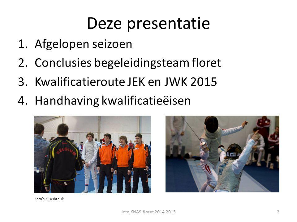 Deze presentatie 1.Afgelopen seizoen 2.Conclusies begeleidingsteam floret 3.Kwalificatieroute JEK en JWK 2015 4.Handhaving kwalificatieëisen Info KNAS