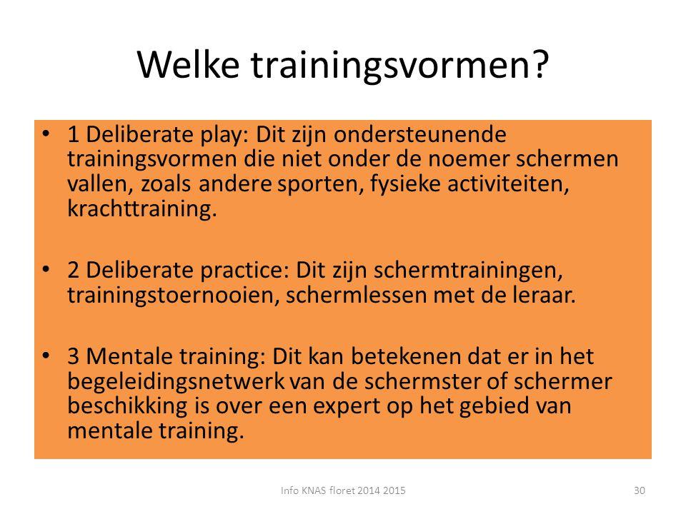 Welke trainingsvormen? 1 Deliberate play: Dit zijn ondersteunende trainingsvormen die niet onder de noemer schermen vallen, zoals andere sporten, fysi