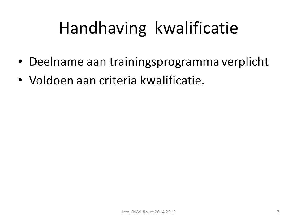 Handhaving kwalificatie Deelname aan trainingsprogramma verplicht Voldoen aan criteria kwalificatie. Info KNAS floret 2014 20157