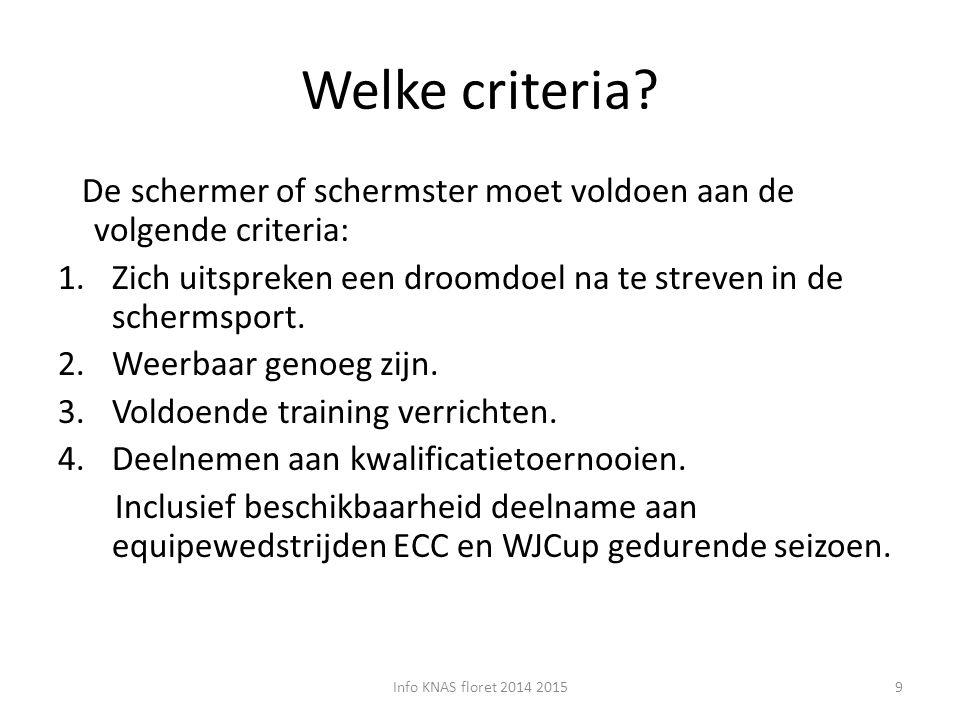 Welke criteria? De schermer of schermster moet voldoen aan de volgende criteria: 1.Zich uitspreken een droomdoel na te streven in de schermsport. 2.We