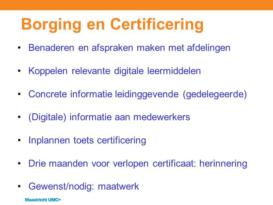 Borging en Certificering Benaderen en afspraken maken met afdelingen Koppelen relevante digitale leermiddelen Concrete informatie leidinggevende (gede