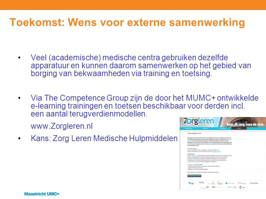 Toekomst: Wens voor externe samenwerking Veel (academische) medische centra gebruiken dezelfde apparatuur en kunnen daarom samenwerken op het gebied v