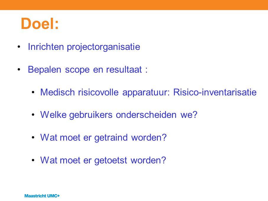 Doel: Inrichten projectorganisatie Bepalen scope en resultaat : Medisch risicovolle apparatuur: Risico-inventarisatie Welke gebruikers onderscheiden w