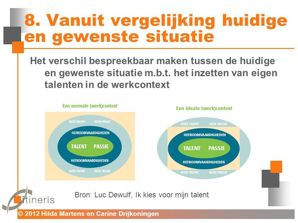 © 2012 Hilda Martens en Carine Drijkoningen Voor mens en organisatie 8. Vanuit vergelijking huidige en gewenste situatie Het verschil bespreekbaar mak