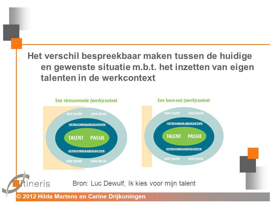 © 2012 Hilda Martens en Carine Drijkoningen Voor mens en organisatie Het verschil bespreekbaar maken tussen de huidige en gewenste situatie m.b.t. het