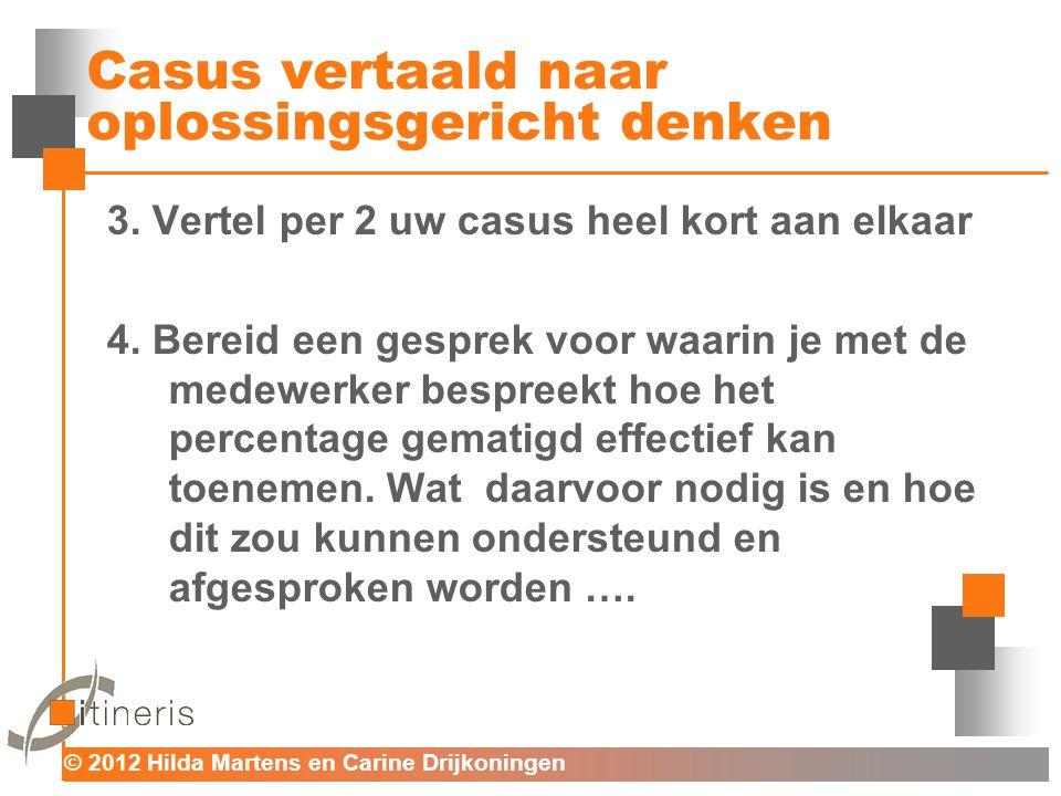 © 2012 Hilda Martens en Carine Drijkoningen Voor mens en organisatie Casus vertaald naar oplossingsgericht denken 3. Vertel per 2 uw casus heel kort a