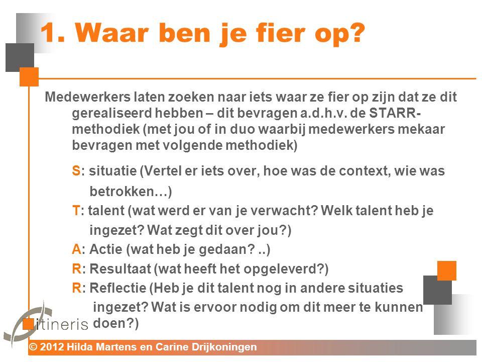 © 2012 Hilda Martens en Carine Drijkoningen Voor mens en organisatie Het verschil bespreekbaar maken tussen de huidige en gewenste situatie m.b.t.