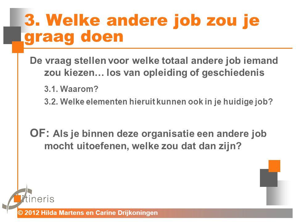 © 2012 Hilda Martens en Carine Drijkoningen Voor mens en organisatie 3. Welke andere job zou je graag doen De vraag stellen voor welke totaal andere j
