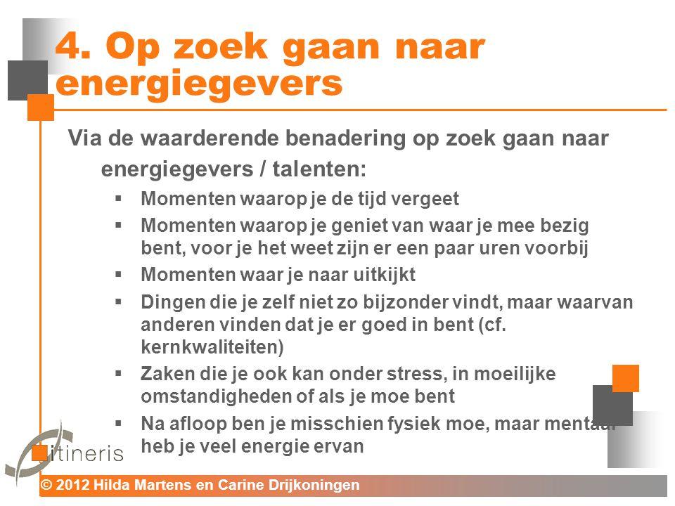© 2012 Hilda Martens en Carine Drijkoningen Voor mens en organisatie 4. Op zoek gaan naar energiegevers Via de waarderende benadering op zoek gaan naa