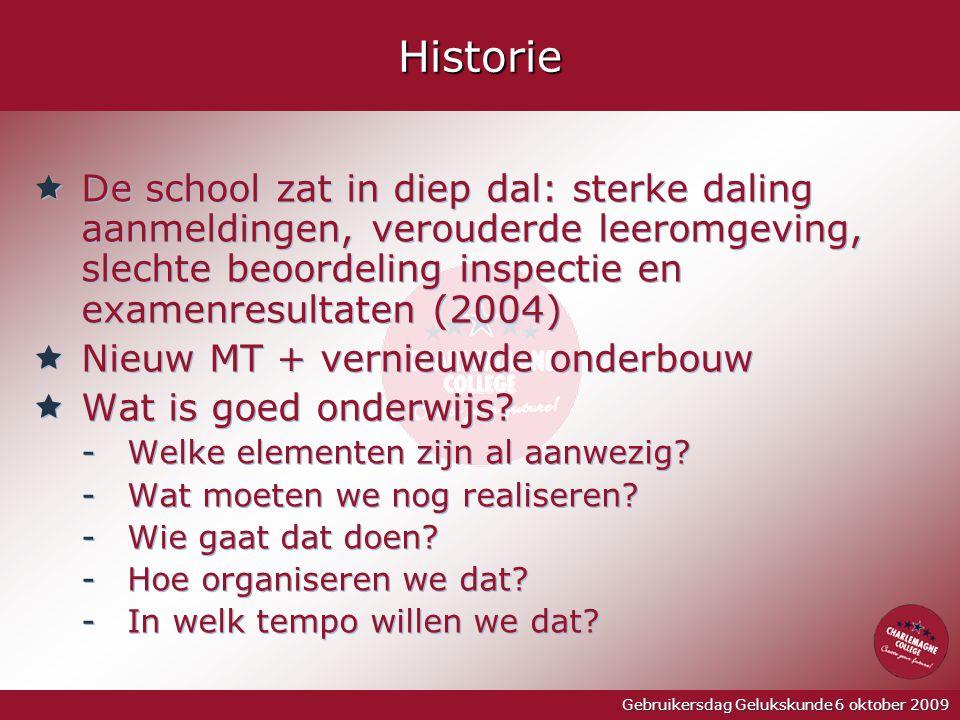 Gebruikersdag Gelukskunde 6 oktober 2009Historie  De school zat in diep dal: sterke daling aanmeldingen, verouderde leeromgeving, slechte beoordeling