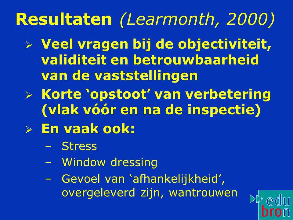 Resultaten (Learmonth, 2000)  Veel vragen bij de objectiviteit, validiteit en betrouwbaarheid van de vaststellingen  Korte 'opstoot' van verbetering (vlak vóór en na de inspectie)  En vaak ook: –Stress –Window dressing –Gevoel van 'afhankelijkheid', overgeleverd zijn, wantrouwen