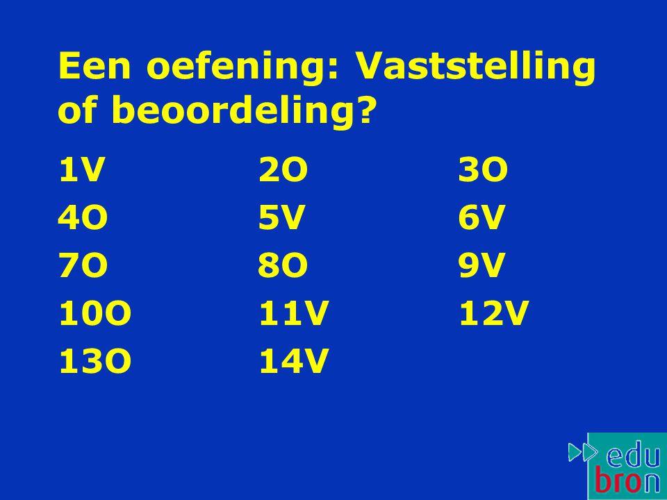 Een oefening: Vaststelling of beoordeling? 1V 2O 3O 4O 5V 6V 7O 8O 9V 10O 11V 12V 13O 14V