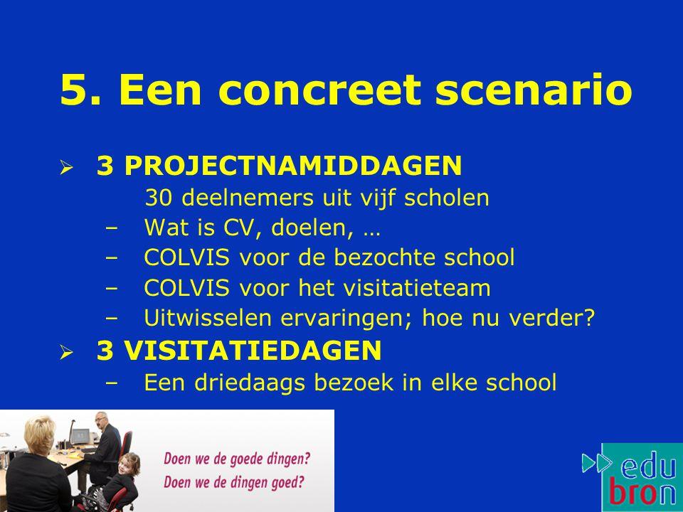 5. Een concreet scenario  3 PROJECTNAMIDDAGEN 30 deelnemers uit vijf scholen –Wat is CV, doelen, … –COLVIS voor de bezochte school –COLVIS voor het v
