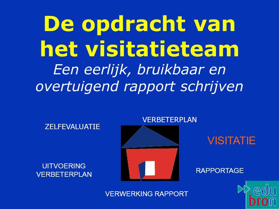 De opdracht van het visitatieteam Een eerlijk, bruikbaar en overtuigend rapport schrijven ZELFEVALUATIE VERBETERPLAN VISITATIE RAPPORTAGE VERWERKING RAPPORT UITVOERING VERBETERPLAN