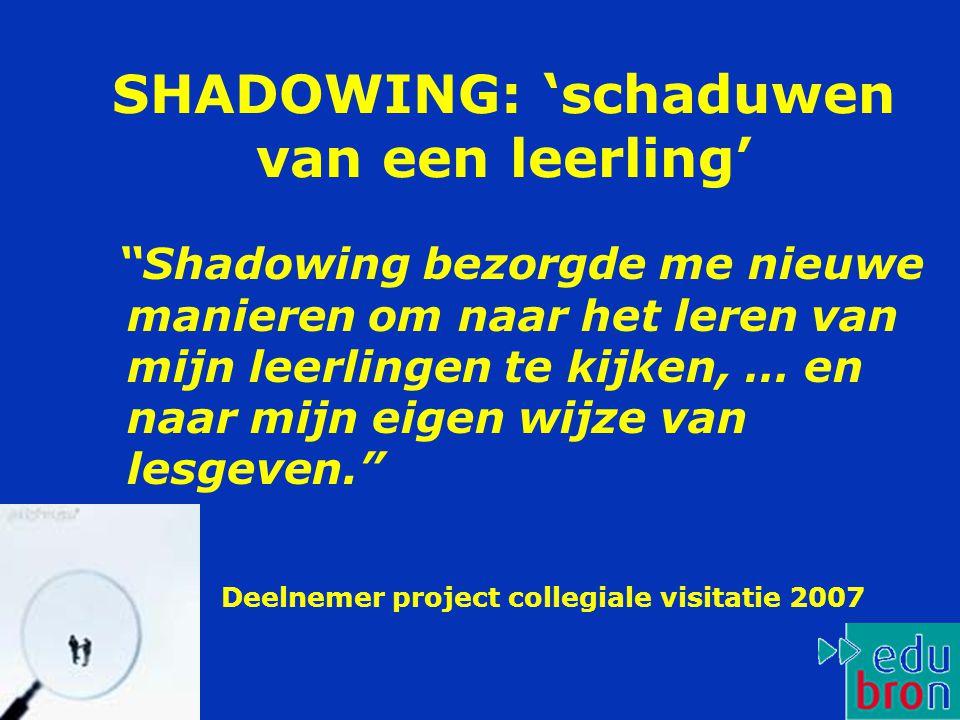 SHADOWING: 'schaduwen van een leerling' Shadowing bezorgde me nieuwe manieren om naar het leren van mijn leerlingen te kijken, … en naar mijn eigen wijze van lesgeven. Deelnemer project collegiale visitatie 2007