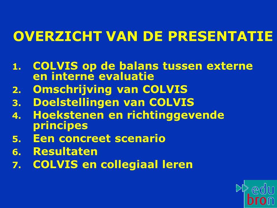 OVERZICHT VAN DE PRESENTATIE 1.COLVIS op de balans tussen externe en interne evaluatie 2.