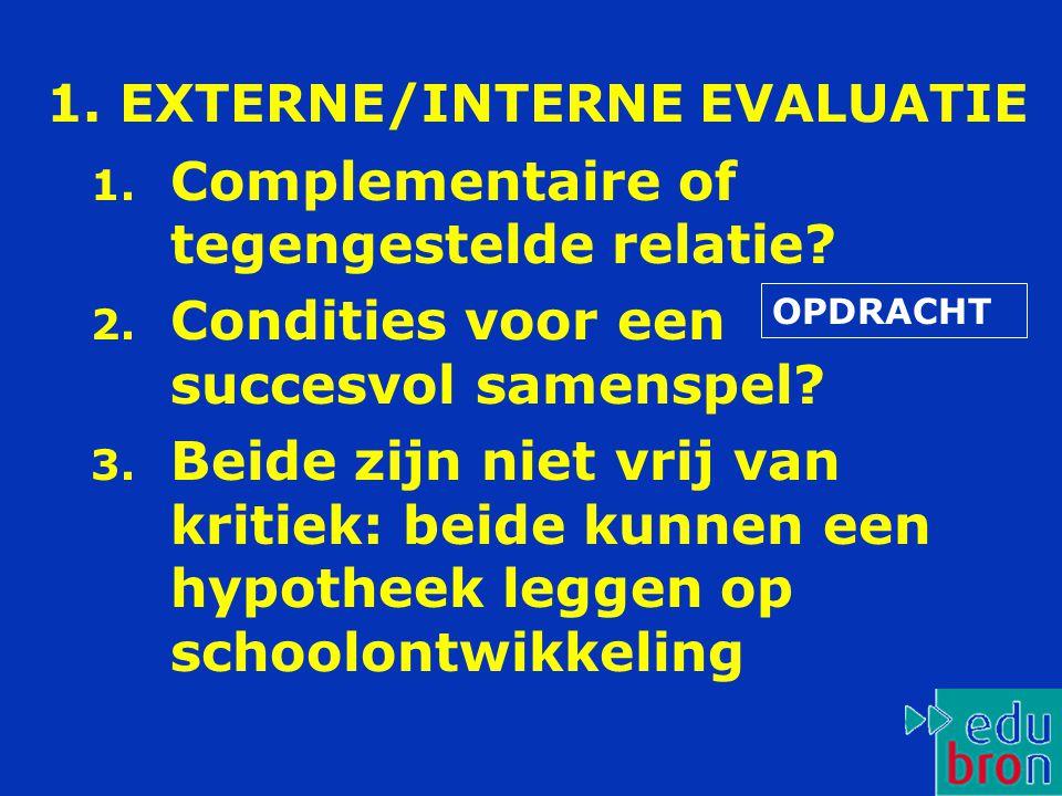 1.EXTERNE/INTERNE EVALUATIE 1. Complementaire of tegengestelde relatie.