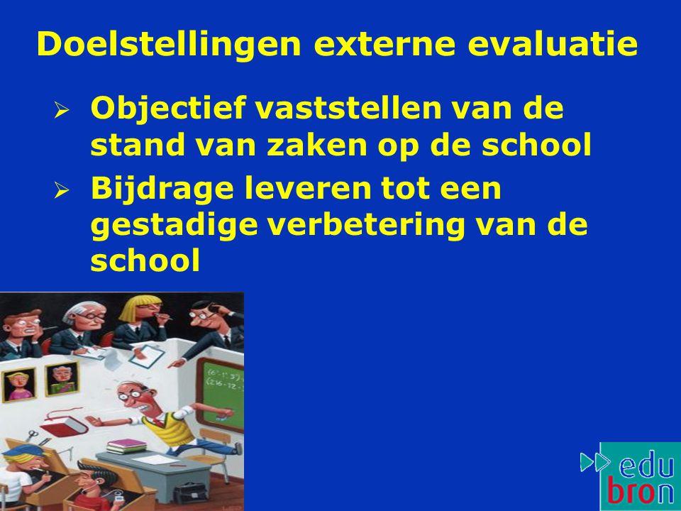 Doelstellingen externe evaluatie  Objectief vaststellen van de stand van zaken op de school  Bijdrage leveren tot een gestadige verbetering van de school