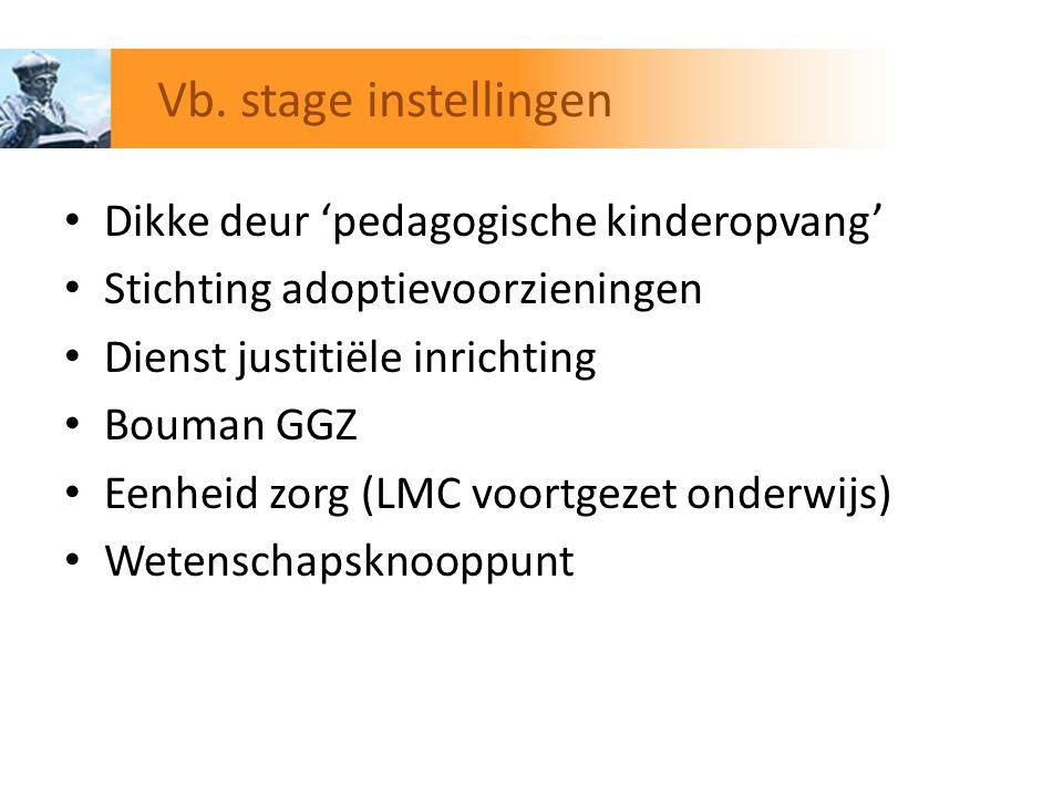 Dikke deur 'pedagogische kinderopvang' Stichting adoptievoorzieningen Dienst justitiële inrichting Bouman GGZ Eenheid zorg (LMC voortgezet onderwijs)