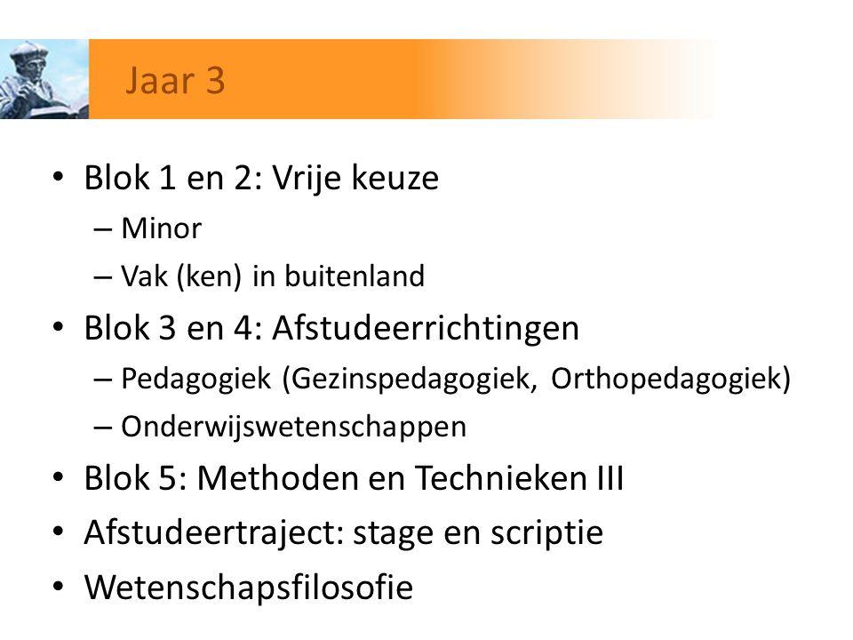 Blok 1 en 2: Vrije keuze – Minor – Vak (ken) in buitenland Blok 3 en 4: Afstudeerrichtingen – Pedagogiek (Gezinspedagogiek, Orthopedagogiek) – Onderwi