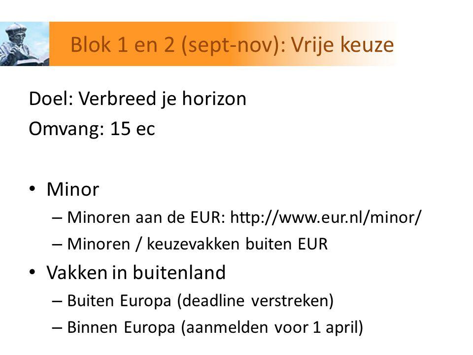Doel: Verbreed je horizon Omvang: 15 ec Minor – Minoren aan de EUR: http://www.eur.nl/minor/ – Minoren / keuzevakken buiten EUR Vakken in buitenland –