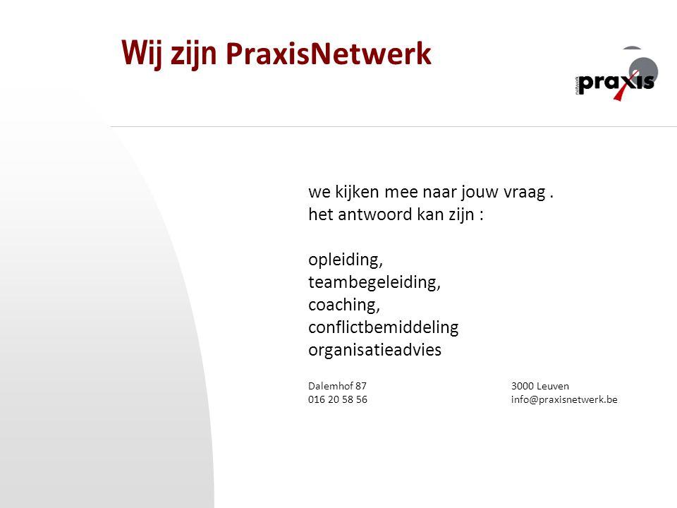 Wij zijn PraxisNetwerk we kijken mee naar jouw vraag. het antwoord kan zijn : opleiding, teambegeleiding, coaching, conflictbemiddeling organisatieadv