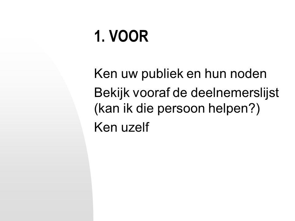 1. VOOR Ken uw publiek en hun noden Bekijk vooraf de deelnemerslijst (kan ik die persoon helpen?) Ken uzelf