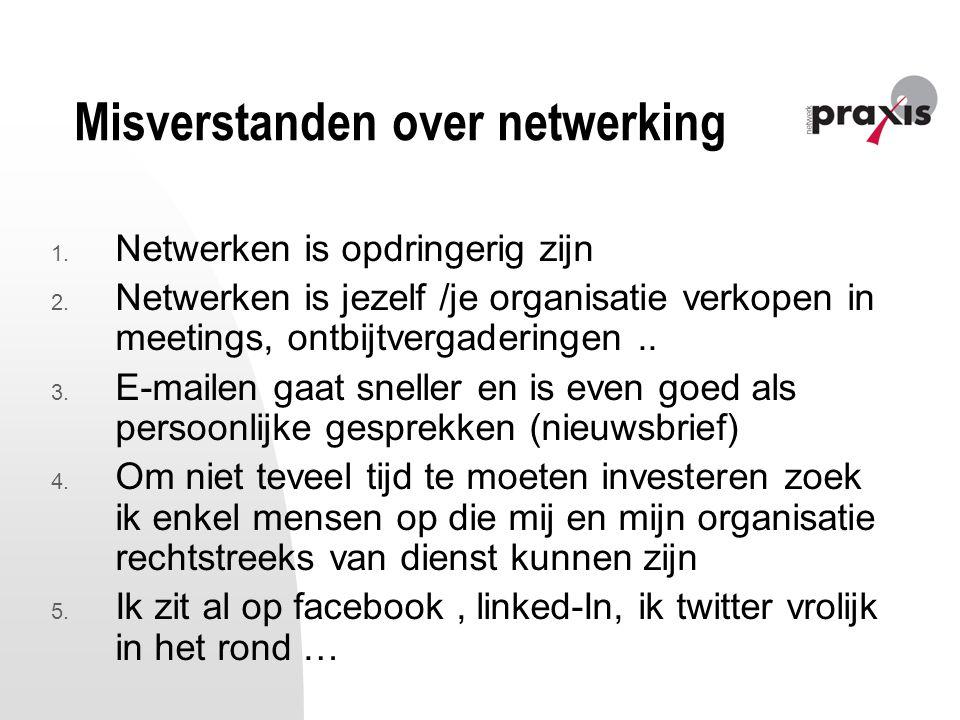 Misverstanden over netwerking 1. Netwerken is opdringerig zijn 2. Netwerken is jezelf /je organisatie verkopen in meetings, ontbijtvergaderingen.. 3.