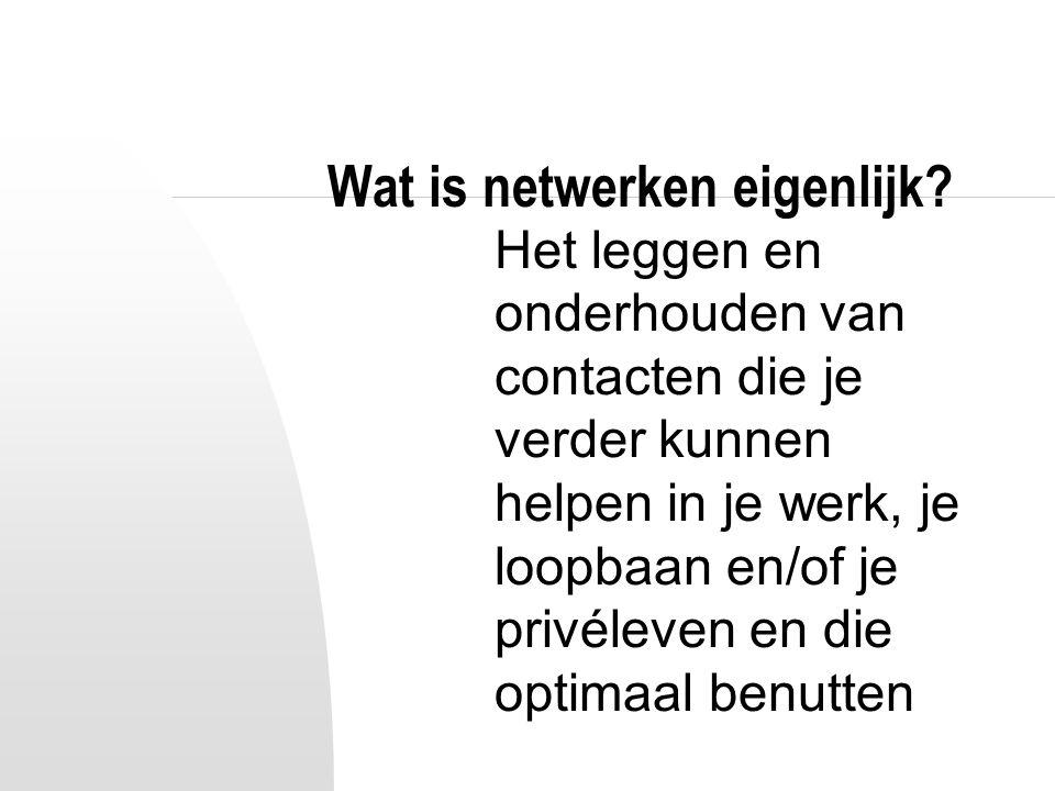 Wat is netwerken eigenlijk? Het leggen en onderhouden van contacten die je verder kunnen helpen in je werk, je loopbaan en/of je privéleven en die opt