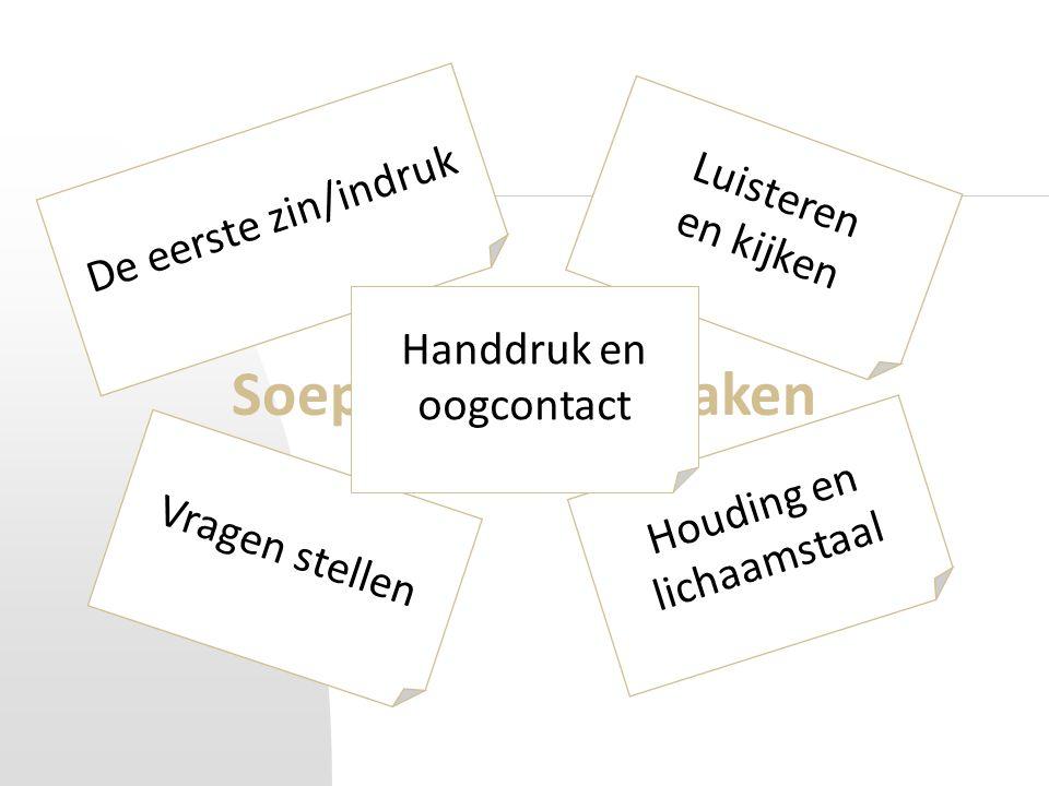 Soepel contact maken De eerste zin/indruk Vragen stellen Luisteren en kijken Houding en lichaamstaal Handdruk en oogcontact