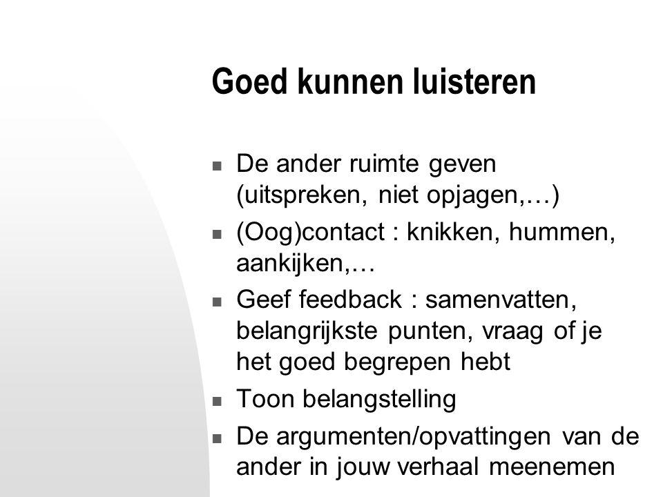 Goed kunnen luisteren De ander ruimte geven (uitspreken, niet opjagen,…) (Oog)contact : knikken, hummen, aankijken,… Geef feedback : samenvatten, bela