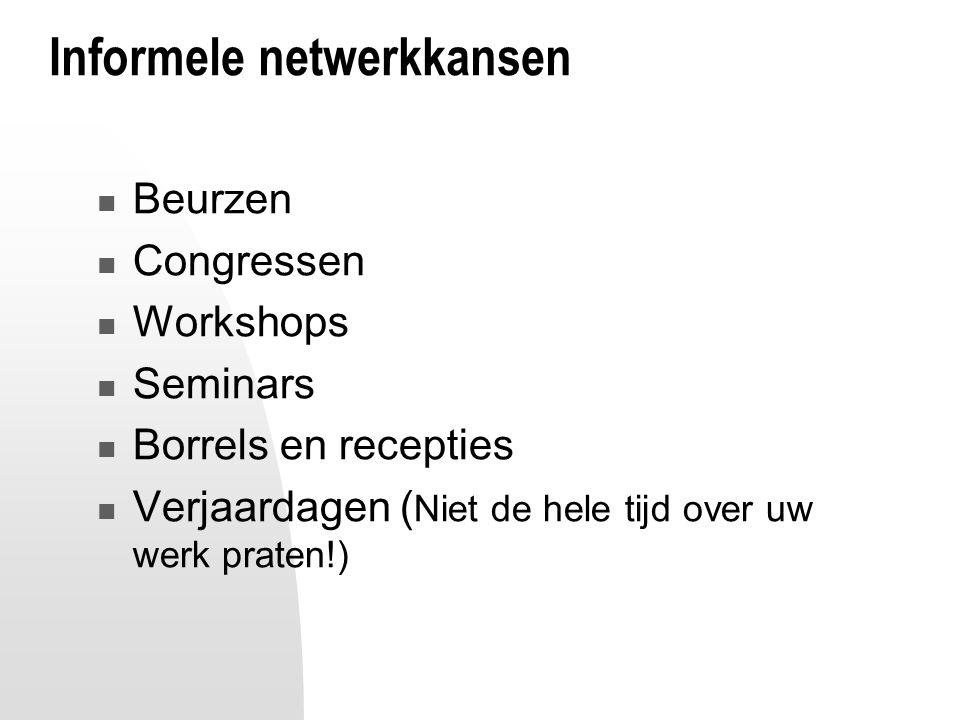 Informele netwerkkansen Beurzen Congressen Workshops Seminars Borrels en recepties Verjaardagen ( Niet de hele tijd over uw werk praten!)