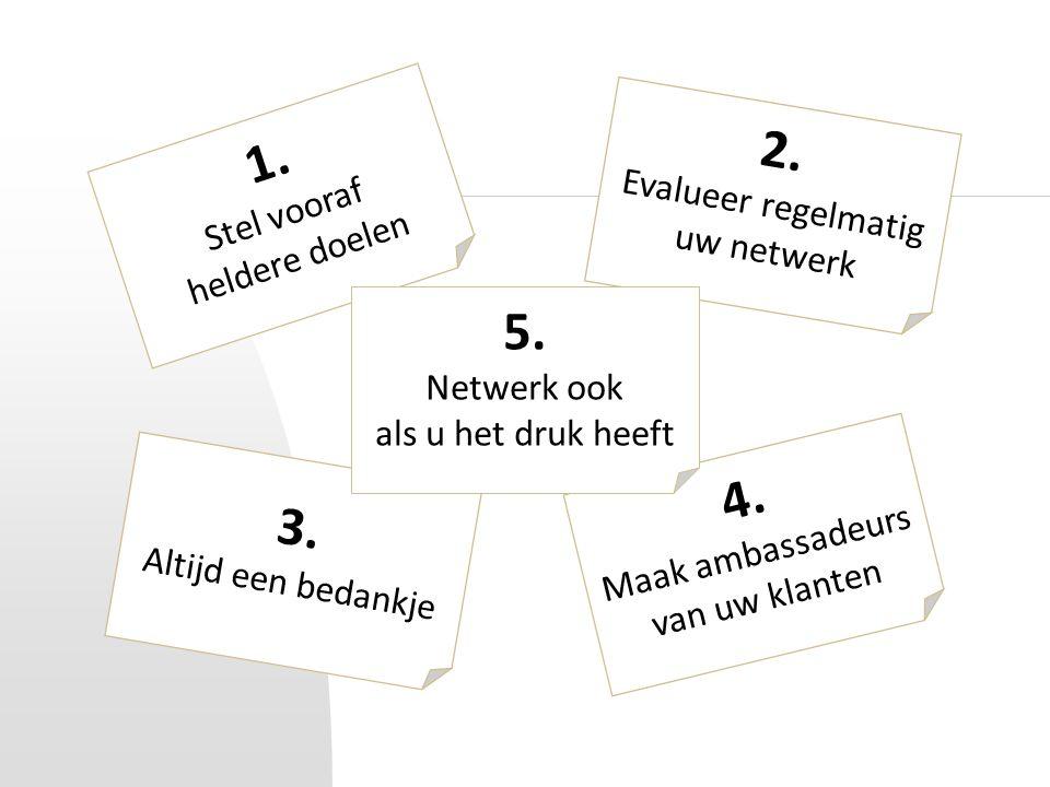 1. Stel vooraf heldere doelen 2. Evalueer regelmatig uw netwerk 3. Altijd een bedankje 4. Maak ambassadeurs van uw klanten 5. Netwerk ook als u het dr