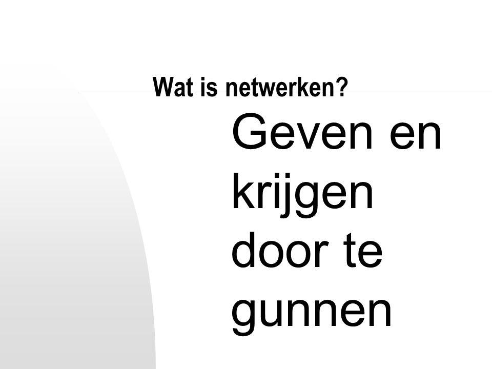 Wat is netwerken? Geven en krijgen door te gunnen