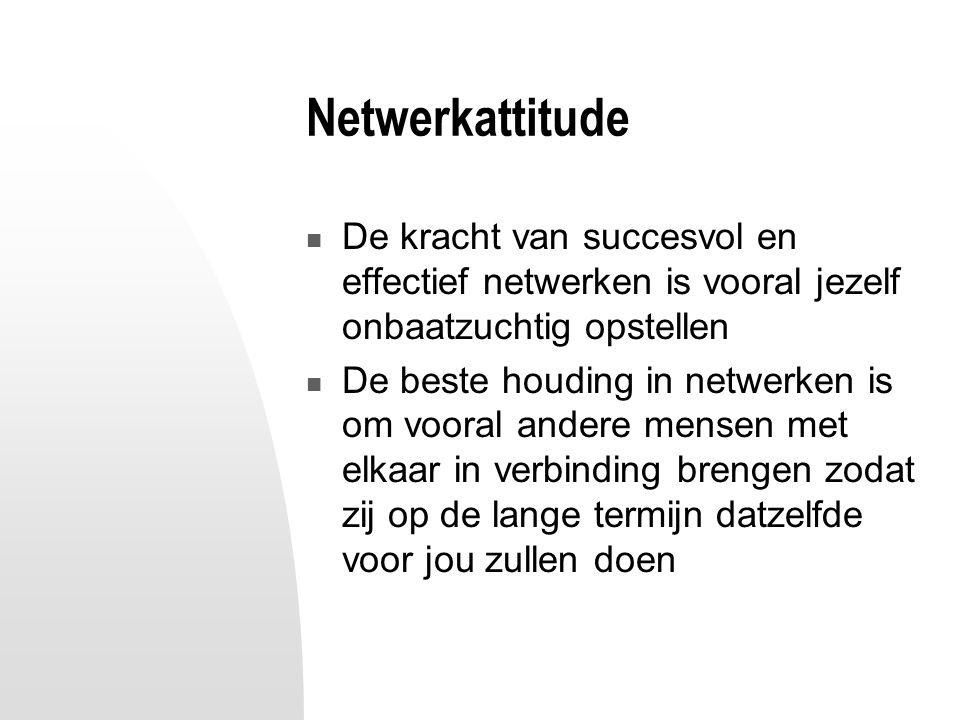 Netwerkattitude De kracht van succesvol en effectief netwerken is vooral jezelf onbaatzuchtig opstellen De beste houding in netwerken is om vooral andere mensen met elkaar in verbinding brengen zodat zij op de lange termijn datzelfde voor jou zullen doen