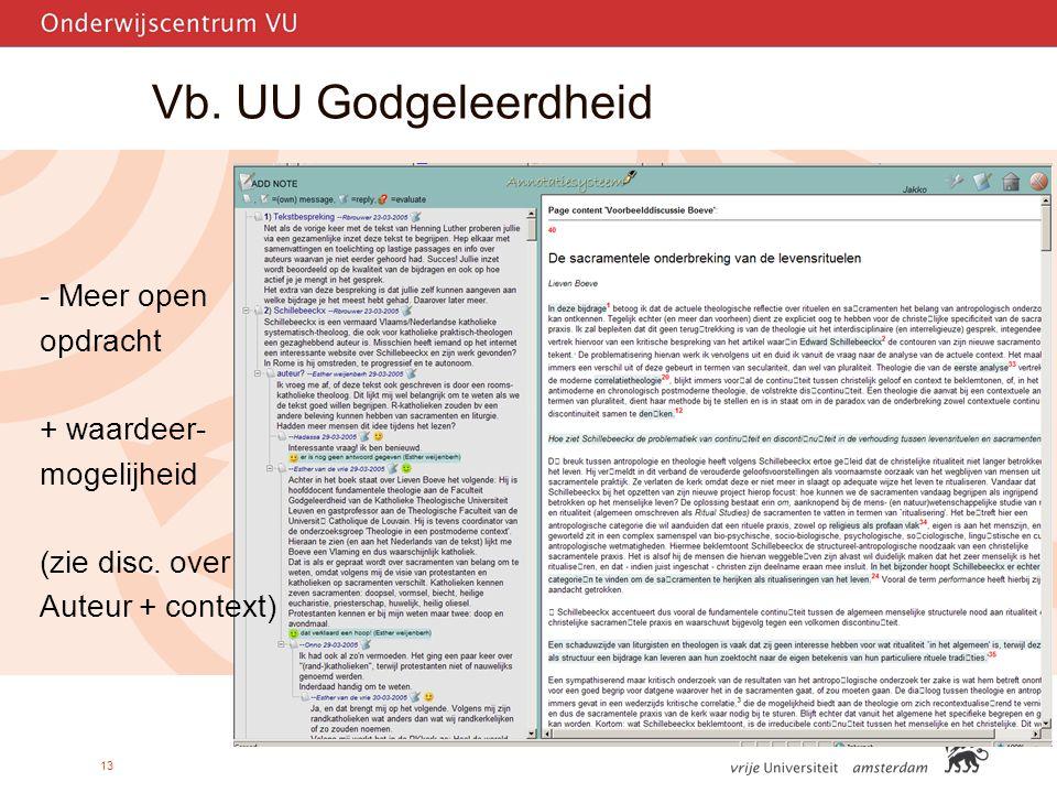 13 Vb. UU Godgeleerdheid - Meer open opdracht + waardeer- mogelijheid (zie disc.