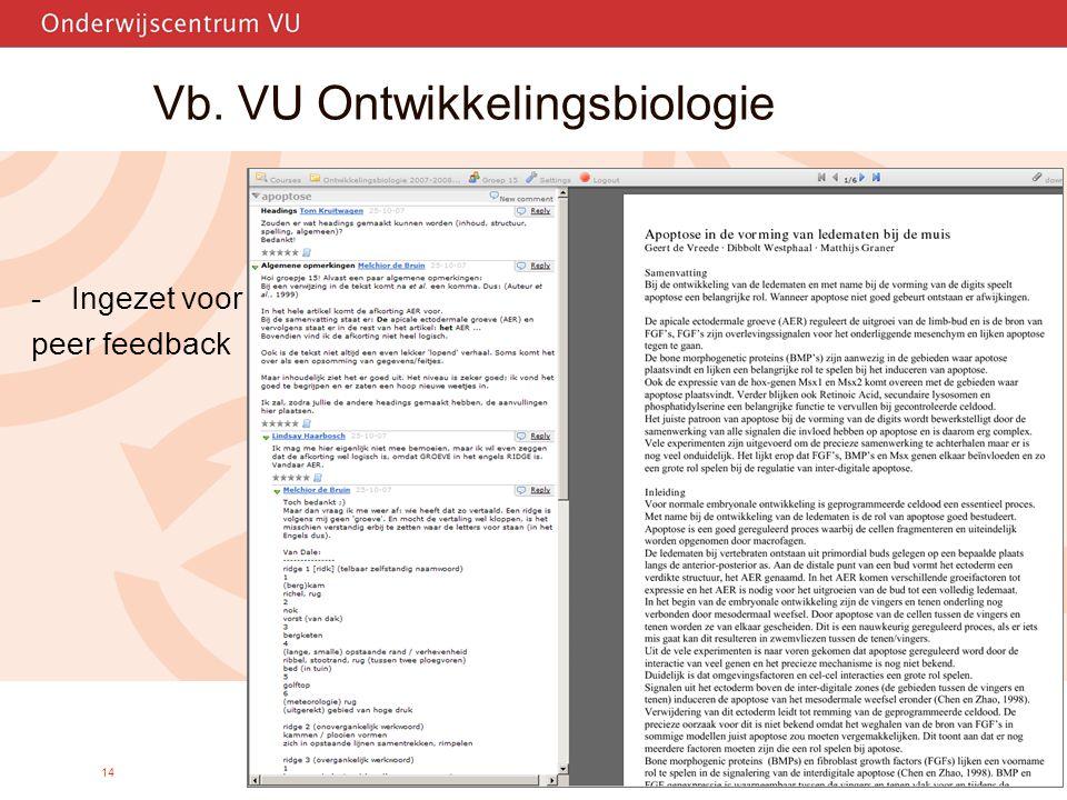 14 Vb. VU Ontwikkelingsbiologie -Ingezet voor peer feedback