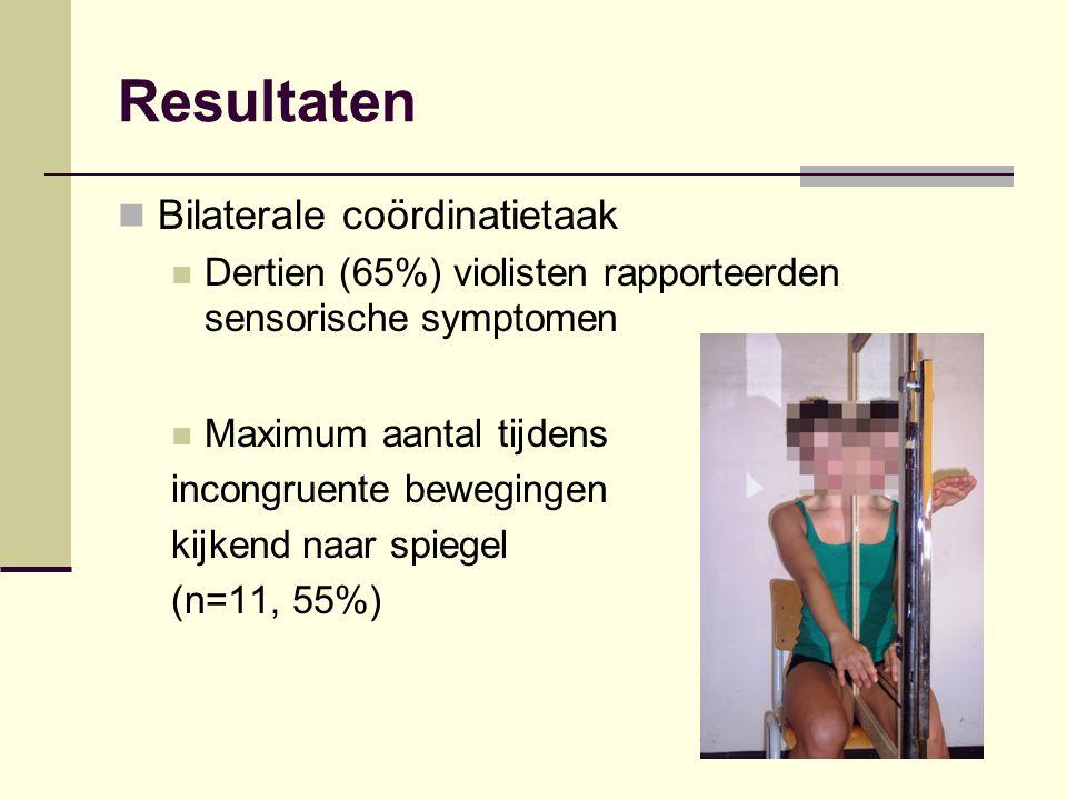 Resultaten Bilaterale coördinatietaak Dertien (65%) violisten rapporteerden sensorische symptomen Maximum aantal tijdens incongruente bewegingen kijke