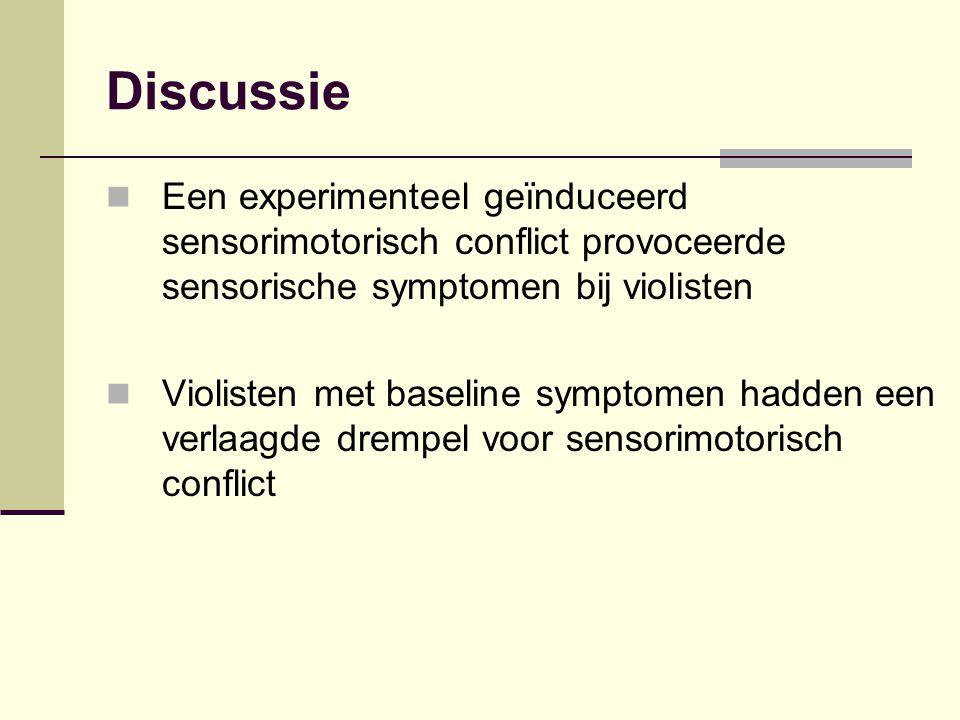 Discussie Een experimenteel geïnduceerd sensorimotorisch conflict provoceerde sensorische symptomen bij violisten Violisten met baseline symptomen had