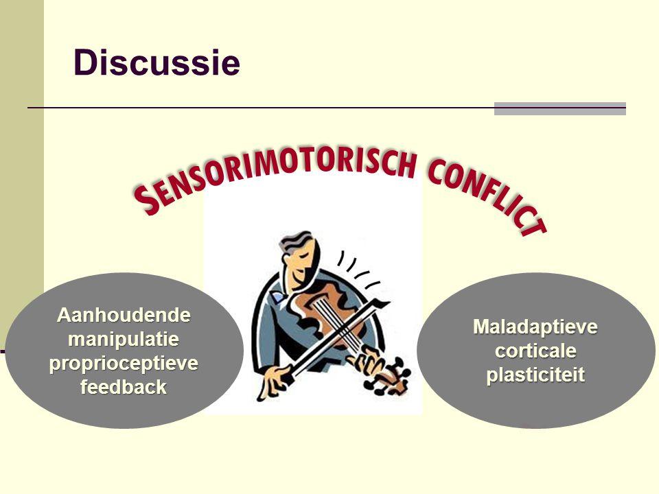 Aanhoudende manipulatie proprioceptieve feedback Maladaptieve corticale plasticiteit Discussie