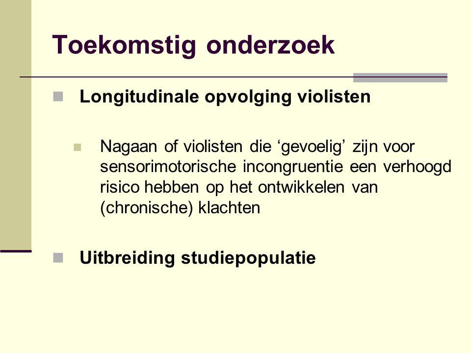 Toekomstig onderzoek Longitudinale opvolging violisten Nagaan of violisten die 'gevoelig' zijn voor sensorimotorische incongruentie een verhoogd risic
