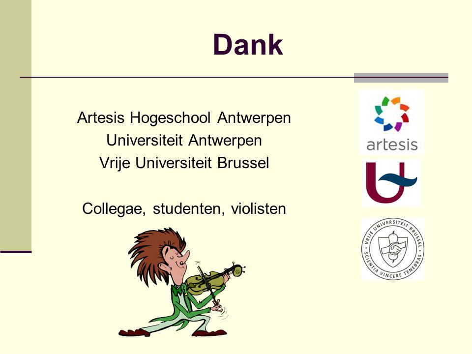 Dank Artesis Hogeschool Antwerpen Universiteit Antwerpen Vrije Universiteit Brussel Collegae, studenten, violisten