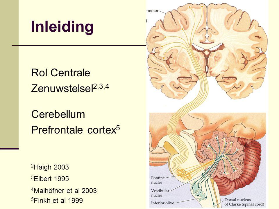 Inleiding Rol Centrale Zenuwstelsel 2,3,4 Cerebellum Prefrontale cortex 5 2 Haigh 2003 3 Elbert 1995 4 Maihöfner et al 2003 5 Finkh et al 1999