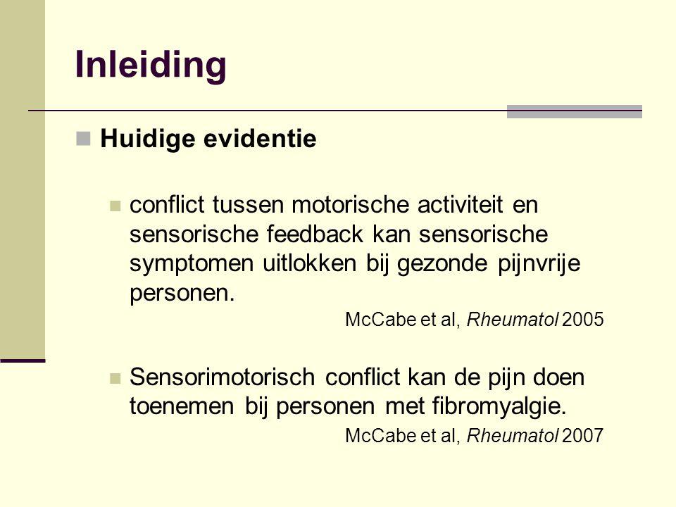 Inleiding Huidige evidentie conflict tussen motorische activiteit en sensorische feedback kan sensorische symptomen uitlokken bij gezonde pijnvrije pe